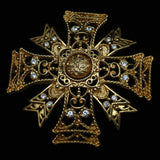 KJL Flip-Center Maltese Cross Brooch Pin Vintage 2-in-1 Kenneth Jay Lane Pendant
