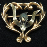 Lily Flower Heart Pin Vintage Gold Filled