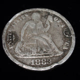 Love Token Charm 1883 Seated Liberty Dime Hand-Engraved IDA or IVA