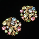 Multi-Colored Rhinestones Set Lisner Bracelet Brooch Pin Earrings