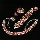 Lisner Set Red Thermoset Plastic Necklace Bracelet Pin & Earrings