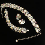 Lisner Parure Necklace Bracelet Earrings Rhinestones Leaf Stones Enamel