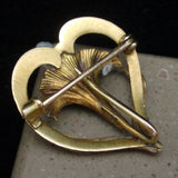Heart & Flower Pin Vintage 10k Gold and Pearl Hook for Watch or Pendant