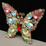 Butterfly Brooch Pin Multi-Colored Rhinestones