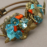 Ornate Clamper Bracelet Crystals Coral Foliate Design Vintage