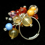 Multi-Colored Dangles Ring Fun Flirty Adjustable