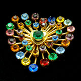 Heart Pin Multi-Colored Rhinestones Sterling Silver Vermeil Vintage