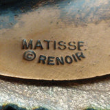 """Leafsong"" Vintage Copper and Enamel Pin Matisse Renoir"