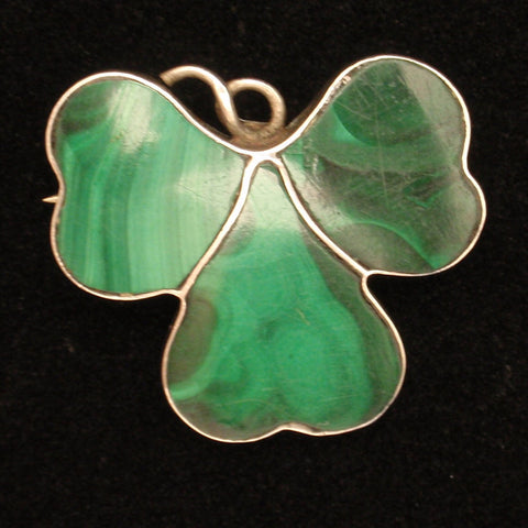 Silver and Malachite Pin