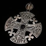 Jerusalem Cross Pendant Silver Yellow Stone Ornate Heavy Granulation