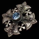 Jerusalem Cross Brooch Pin Pendant 900 Silver Blue Stone