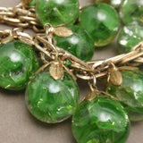 Green Glass Marbles Set Vintage Bracelet and Earrings