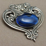 Margot de Taxco Pin Sterling Silver Blue Glass Mexico Vintage Brooch