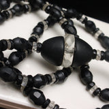 Black Glass & Crystal Necklace Vintage 1920s