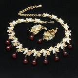 Red Teardrops 2 Color Metal Necklace Earrings Set Vintage