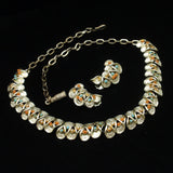 Champagne Gold Tone Necklace Earrings Set Vintage 3 Colors Stones