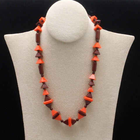 Orange and Brown Glass Beads Necklace Vintage Geometric Art Deco