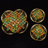 Fall Colors Rhinestone Jewelry Set Pin & Earrings Vintage