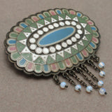 Bohemian Folk Art Pin Matte Enamel with Moonstone Dangles