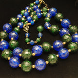 Double Strand Necklace Green Blue Sparkly Faceted Plastic Beads Vintage