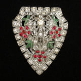 Dress Clip Pin Red Green Clear Rhinestones Vintage