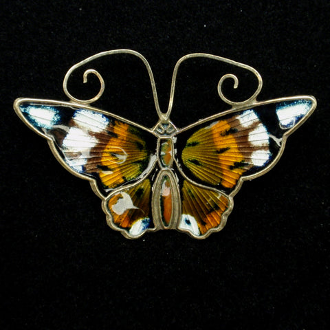 Butterfly Pin Vintage Sterling Silver Enamel David Andersen Norway Monarch