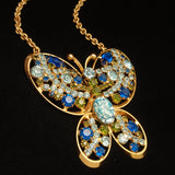 Butterfly Pendant Necklace Blue Rhinestones and Art Glass