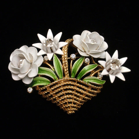 Trifari Flower Basket Pin