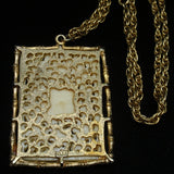 Imitation Ivory Asian Plaque Pendant Necklace JJ