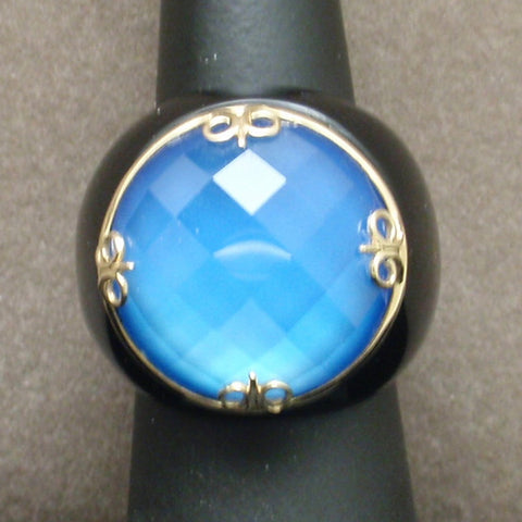 Gold Onyx Blue Quartz Ring