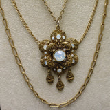 Triple Chain Necklace with Imitation Moonstones