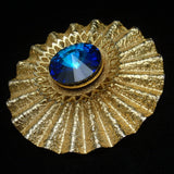 Fluted Brooch Pin with Rivoli Rhinestone
