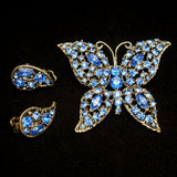 Blue Rhinestone Butterfly Pin and Earrings Set