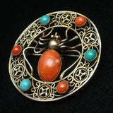 Spider Brooch Pin Silver Coral Turquoise
