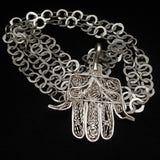 Hamsa Hand of Fatima Pendant Necklace Hand-Wrought
