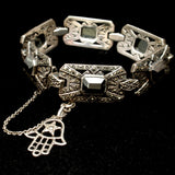 Marcasite and Hematite Bracelet with Hamsa Hand Charm Sterling Silver