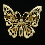 Butterfly Brooch Pin Large Colorful Stones by Art