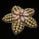 Flower Brooch Pin Hollycraft Studded with Imitation Pearls and Opals