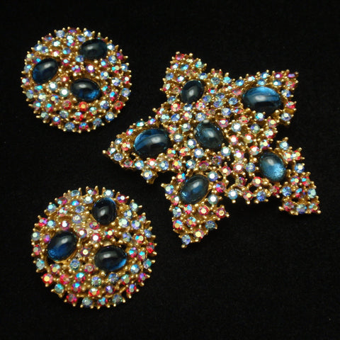 Art Pin and Earrings Set