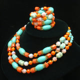 Coral Turquoise Opal Glass Necklace Earrings Set