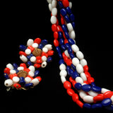Patriotic Necklace Earrings Set Alice Caviness Vintage