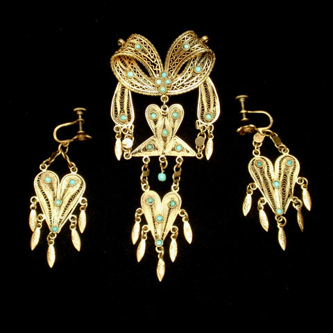 Etruscan Revival Pin and Earrings Set