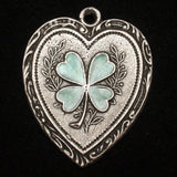 Oversized Heart & 4-Leaf Clover Charm