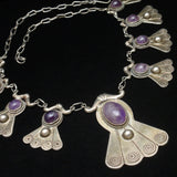 Sterling Silver and Amethyst Necklace Vintage Mexico