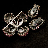 Sandor Purple Brooch Pin Earrings Set