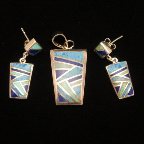Sterling Silver Pendant and Earrings