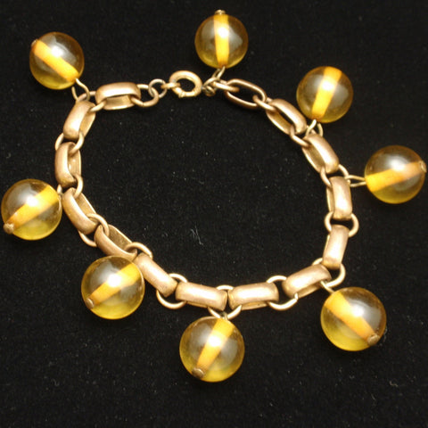 Yellow Glass Charm Bracelet