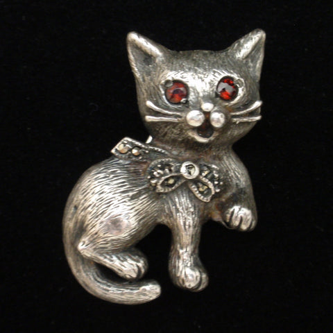 Cat Pin Vintage Sterling Silver
