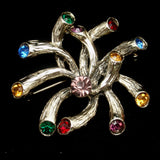 Rhinestone Tipped Sea Anemone Brooch Pin