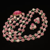 Pink Flower Beads Double Strand Necklace & Earrings Set
